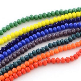 Faceted Solid Color Glass Rondelle Beads Strands