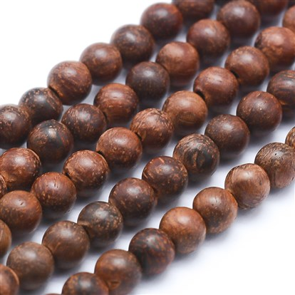 Natural Sandalwood Beads Strands, Round, Dyed-1