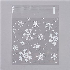 Printed Plastic Bags, with Adhesive, Snowflake