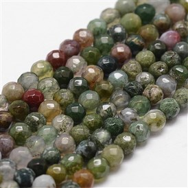 Natural Indian Agate Beads Strands, Faceted, Round
