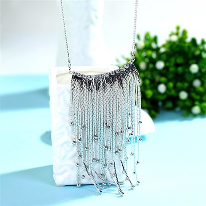 "18K Real Gold & Platinum Plated Alloy Tassel Bib Statement Necklaces, Fringe Chain Necklaces, 33""-1"