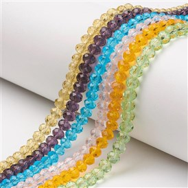 Glass Beads Strands, Faceted, Rondelle