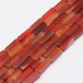 Natural Red Agate/Carnelian Beads Strands, Cuboid, Dyed