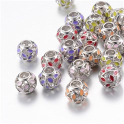 Mixed Color Alloy Enamel European Beads, Rhinestones, Large Hole Beads, Rondelle with Leaf, Silver, Mixed Color, 11x9~9.5mm, Hole: 4mm