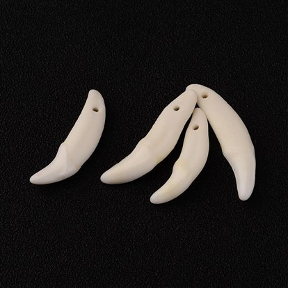 Natural Bone Pendants, Tooth, 30~33x9~10x4~6mm, Hole: 1.5~2mm-1