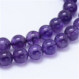 Natural Amethyst Round Bead Strands, Grade AB+