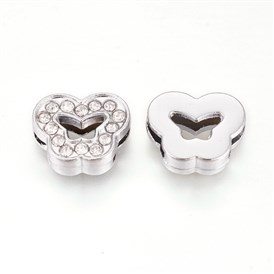 Alloy Rhinestone Slide Charms, Butterfly
