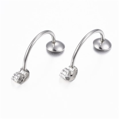 304 Stainless Steel Ear Nuts, Earring Backs, with Tray-1