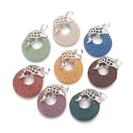 Natural Lava Pendants, with Alloy Findings, Dyed, Flat Round and Fish, Platinum