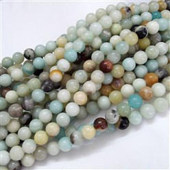 Amazonite Natural Amazonite Beads Strands, Round, 4mm, Hole: 1mm; about 92pcs/strand, 15.5''(39.5cm)