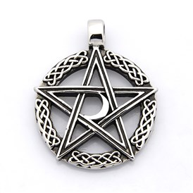 Retro 316 Stainless Steel Ring with Pentagram Pendants, 43x35x4mm, Hole: 5mm