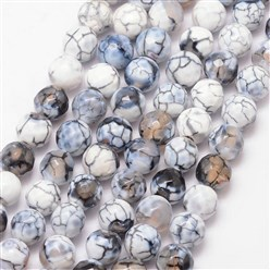 White Natural Fire Agate Bead Strands, Round, Grade A, Faceted, Dyed & Heated, White, 8mm, Hole: 1mm; about 47pcs/strand, 15""