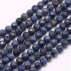 Natural Sapphire Beads Strands, Grade A, Faceted, Round