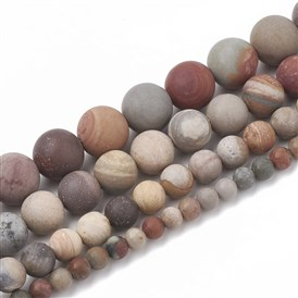 Natural America Picture Jasper Beads Strands, Frosted, Round