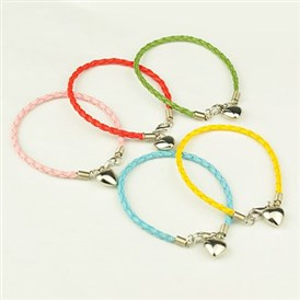 PU Leather Braided Charm Bracelets, with CCB Plastic Pendants and Alloy Lobster Claw Clasps, 180mm
