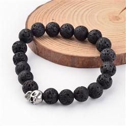 Lava Skull Natural Lava Beaded Stretch Bracelets, with 304 Stainless Steel Beads, 54mm