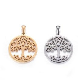 304 Stainless Steel Pendants, Flat Round with Tree of Life