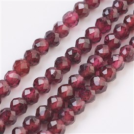 Natural Garnet Beads Strands, Faceted, Round