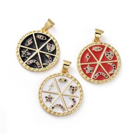 Cubic Zirconia Pendants, with Brass Findings and Enamel, Flat Round with Eye & Heart & Moon & Star & Lightning Bolt, Golden