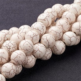 Synthetic Howlite Beads Strands, Round