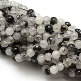 Natural Gemstone Black Rutilated Quartz Round Beads Strands
