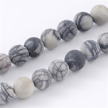 "Round Frosted Natural Black Silk Stone/Netstone Bead Strands, 8mm, Hole: 1mm; about 46pcs/strand, 15.1""-1"