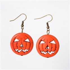 Antique Bronze Halloween Pumpkin Jack o Lantern Synthetic Turquoise Dangle Earrings, with Brass Earring Hooks, Antique Bronze, 45mm; Pin: 0.7mm
