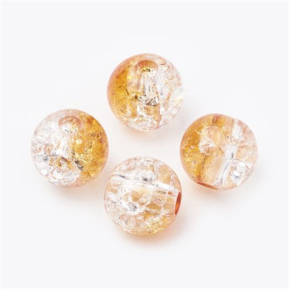 Acrylic Beads, Transparent Crackle Style, Round