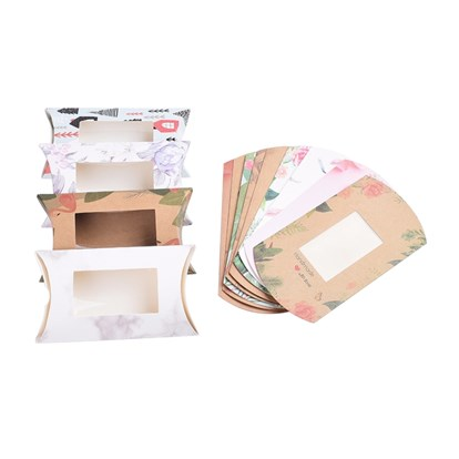 Paper Pillow Boxes, Gift Candy Packing Box, with Clear Window