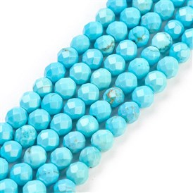 Natural Turquoise Beads Strands, Dyed, Faceted, Round, 4mm, Hole: 1mm