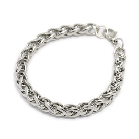 "Trendy 304 Stainless Steel Wheat Chain Bracelets, with Lobster Claw Clasps, 7-7/8""(200mm); 8mm"