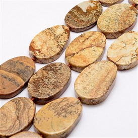Natural Picture Jasper Beads Strands, Oval