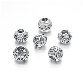 Mixed Tibetan Style Zinc Alloy Hollow European Beads, Lead Free & Nickel Free, 11~12x9~10mm, Hole: 4mm
