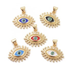 Enamel Pendants, with Brass Findings, Eye, Golden