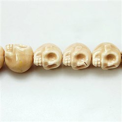 BurlyWood Handmade Porcelain Beads Strands, Bright Glazed Style, Skull, Halloween, BurlyWood, about 15mm wide, 18mm long, 18mm thick, Hole: 1.5mm