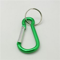 LightGreen Aluminum Oval Carabiner Keychain, with Iron Clasps, LightGreen, 60.5x29mm