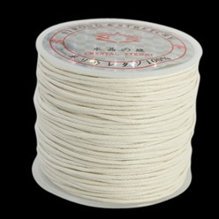 White Cotton Waxed Cord, White, 1mm; about 25m/roll