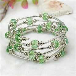 LightGreen Fashion Wrap Bracelets, with Rondelle Glass Beads, Tibetan Style Bead Caps, Brass Tube Beads and Steel Memory Wire, LightGreen, Inner Diameter: 55mm