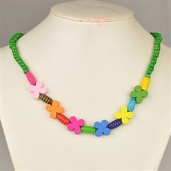 Green Colorful Wood Necklaces for Kids, Children's Day Gifts, Stretchy, Green, 18 inches