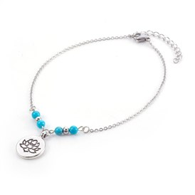 Synthetic Turquoise Charms Anklets, with Tibetan Style Alloy Pendants, 304 Stainless Steel Findings and Iron Eye Pin, Flat Round with Lotus