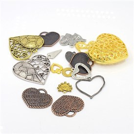 Ideas for Valentine Day Gifts Tibetan Style Pendants, Heart, Mixed Style, 12~52x10~49x1.5~16mm; Hole: 1~5.5mm