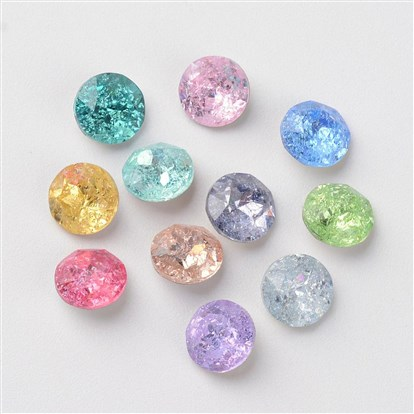 Pointed Back Glass Rhinestone Cabochons, Back Plated, Faceted, Half Round/Dome-1