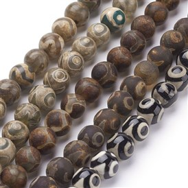 Natural Agate Beads Strands, Dyed,  Mixed Color, Round