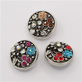 Retro Cadmium Free & Nickel Free & Lead Free, Antique Silver Zinc Alloy Rhinestone Buttons, Flat Round Carved Flower Jewelry Snap Buttons, 20x8mm; Knob: 5.5mm