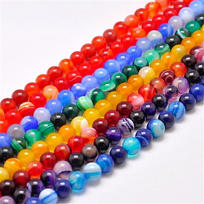 Natural Striped Agate/Banded Agate Bead Strands, Dyed & Heated, Round, Grade A