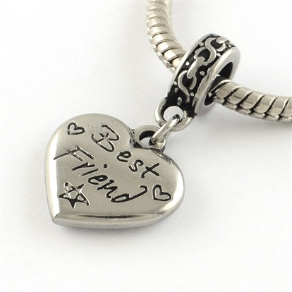 Vintage Heart 316 Stainless Steel European Dangle Beads, Large Hole Pendants with Word Best Friend, 30mm, Hole: 5mm-1