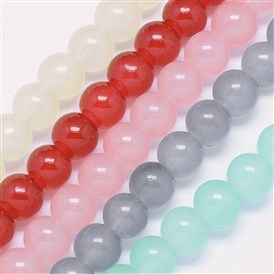 Imitation Jade Glass Beads Strands, Dyed & Heated, Round