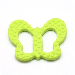YellowGreen Food Grade Environmental Silicone Big Pendants, Chewing Pendants For Teethers, DIY Nursing Necklaces Making, Butterfly, YellowGreen, 80x64x9mm, Hole: 14x39mm