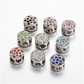 Antique Silver Tone Alloy Rhinestone European Beads, Large Hole Flat Round with Star Beads, 11x8mm, Hole: 5mm