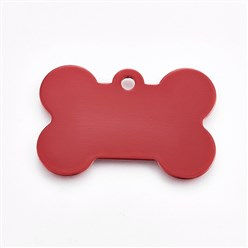 Red Pet Aluminium Pendants, Blank Stamping Tag, Bone, Red, 25x38x1mm, Hole: 2.5mm